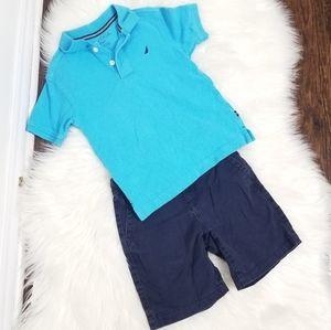 Nautica 2pc Polo Shirt Crazy8 Blue Shorts Size 4